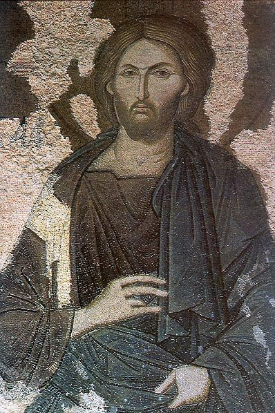 Detail of the Deisis mosaic of Christ