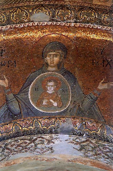Mosaic of the Virgin of the Sign in the Church of the Monastery of the Savior in Chora, Istanbul