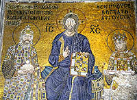 Mosaic of Christ and Empress Zoe and Emperor Constantine IX in the south gallery of the Hagia Sophia, Istanbul
