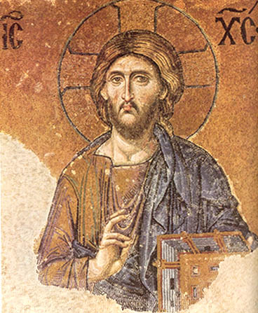 Mosaic of Pantocrator in the south gallery of the Hagia Sophia, Istanbul