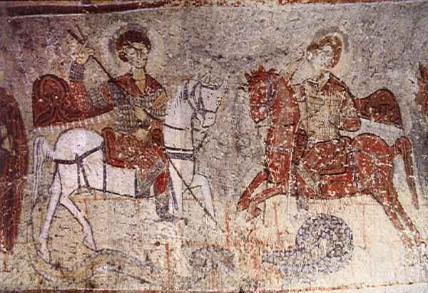 Wall painting of Saints George and Demetrius in the Church of the Serpent, Ilhara Valley, Cappadocia