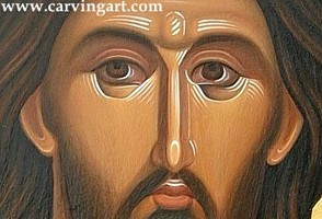Christ Pantocrator, detail. Oil colors on wooden board.
