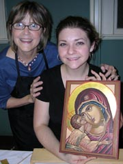 Kh. Susan with a student near completion of her icon