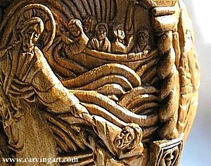 "Detail of the ""Miracles"" egg; heads of the Disciples in the boat are about 2 mm (0.079 of an inch) long."