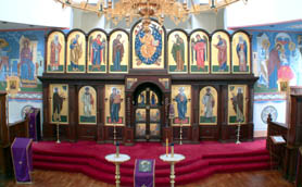 East wall in St Seraphim Cathedral, iconography by V. Grigorenko, 2000