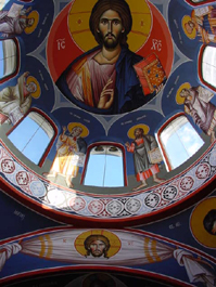 Pantocrator in the central dome of St. Demetrius church, hand-painted 2001