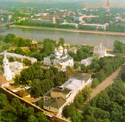 Aerial view of the Kremlin in Novgorod with the Sofia Church