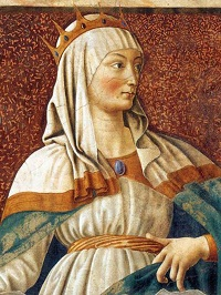 Fresco wall painting (detail) of Queen Esther by Andrea del Catagno, Galleria degli Uffizi, Florence